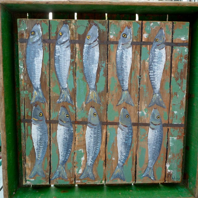 Harengs en caisse /acrylique sur toile 45x45cm hors cadre