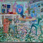 Her greenhouse kitchen /huile sur toile 90x100cm