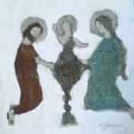 La sainte famille /tech mixte/toile/bois 20x20cm