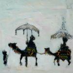 Les rois mages au parasol /tech mixte/toile 20x20cm