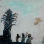Les rois mages et l'arbre de Noël /tech mixte/toile 20x20cm