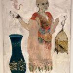 Figure à l'oiseau /technique mixte sur toile 116x89cm