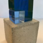 Maison bleue /verre, béton et feuille d'or