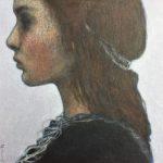 Le pensionnat /acrylique et pastel huile sur bois 18x18cm