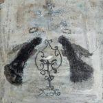 Deux anges noirs et l'oiseau blanc /tech mixte 20x20cm