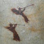 Deux anges à la trompette /tech mixte marouflée 20x20cm