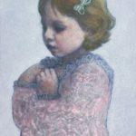 Rose /acrylique, pastel sur bois 34,5x27,5cm