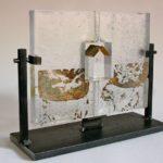 Cabanon /verre et acier H21cm