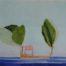 Ile bateau, cabane rouge et arbres /gouache-crayon/papier ciré 60x80cm