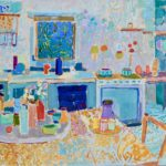Looking at the kitchen /huile sur toile 70x80cm