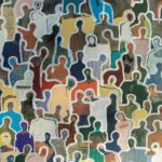 J+homme au i bleu /acrylique sur toile 54x65cm VENDU