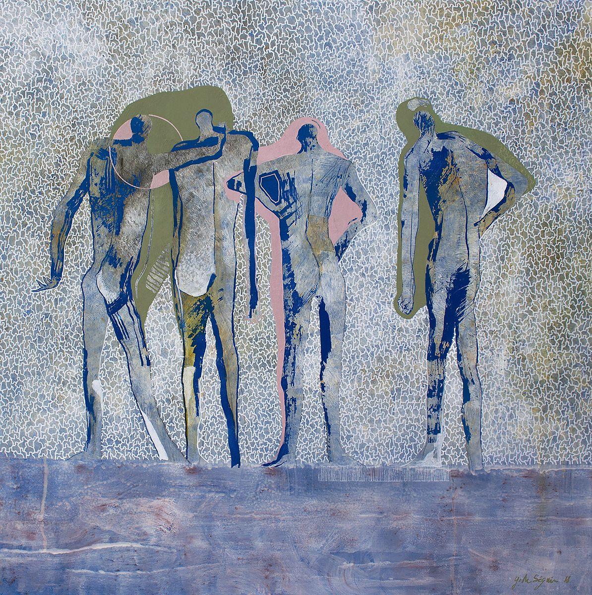 J+les 4 z'amis /acrylique sur toile 80x80cm