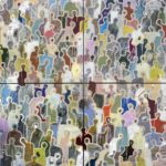 J+l'homme au U orange /tech mixte sur toile 4x(80x80)cm