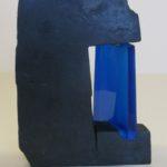 La porte bleue /grès et verre H32,5cm