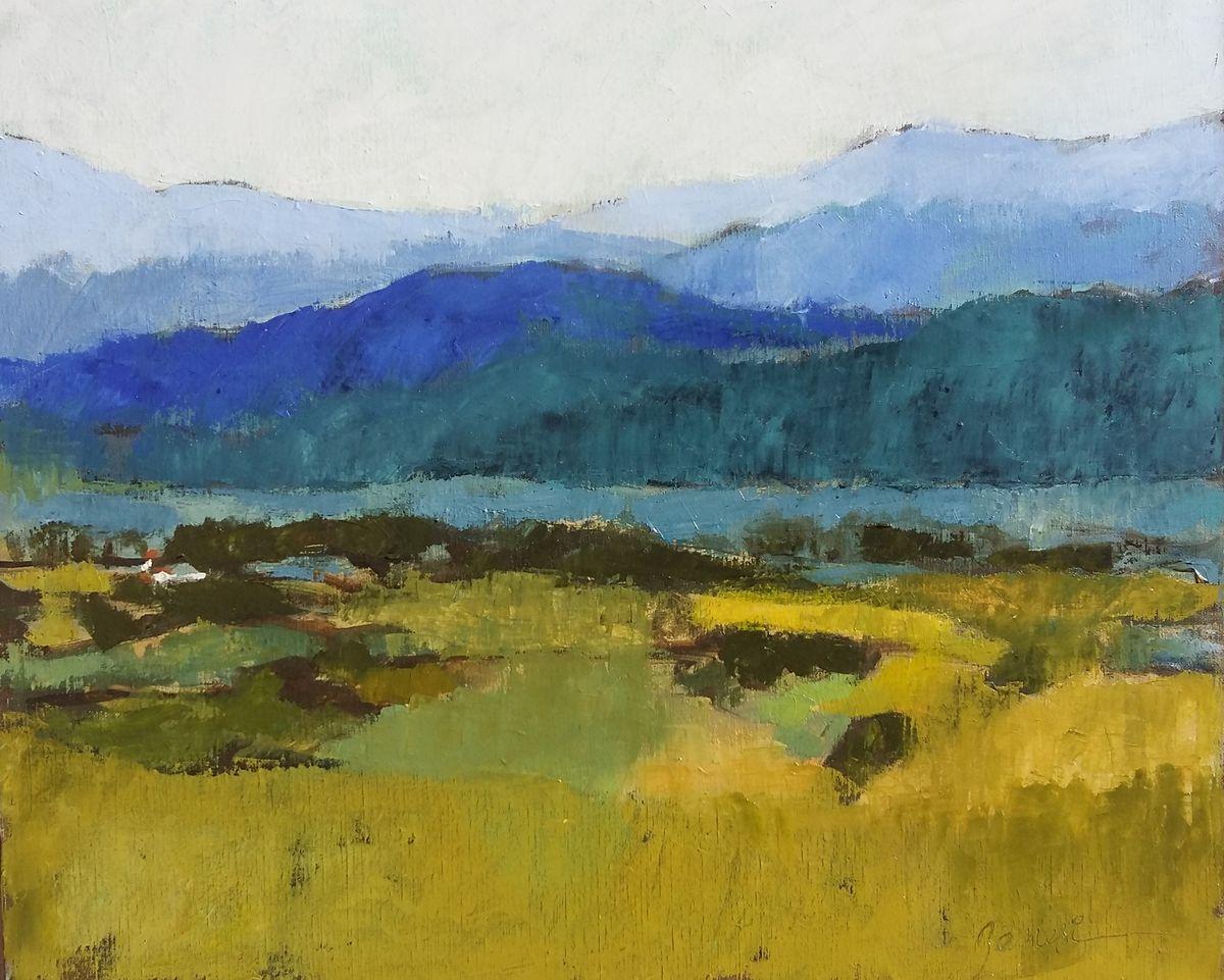 La vallée /huile sur toile 46x55cm