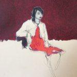L'audition /pastel sec sur papier 31x31cm encadré