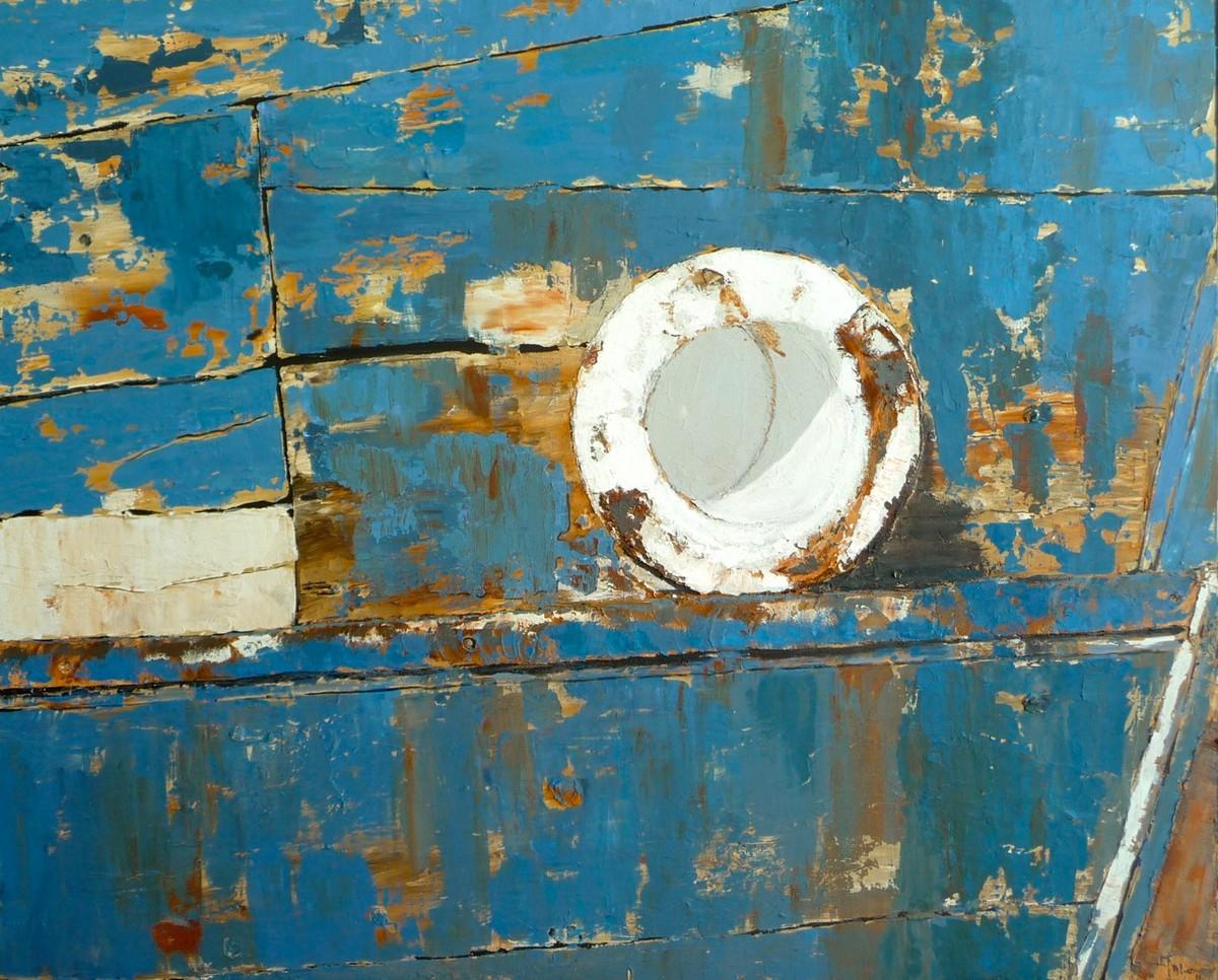 Le côtre bleu /acrylique sur toile 81x100cm