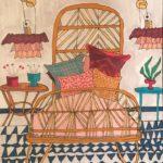 Le lit de Céline /feutre sur papier aquarellé 27x17cm