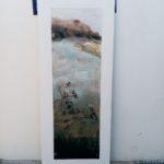 Maceron à Oléron /tech mixte (photo, acryl, pigments..) sur bois /145x60cm