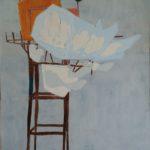 Maison perchée, ciel et oiseau /gouache-crayon/papier ciré 114x81cm