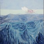 Mer et pêcherie rose /technique mixte marouflée 100x81cm