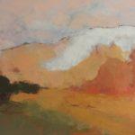 Montagne orange /huile sur toile 40x120cm