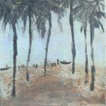 Paysage aux palmiers /tech mixte 20x20cm