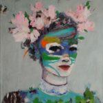 Petite guerrière au masque et fleurs /tech mixte sur toile 81x65cm