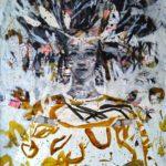 Petite guerrière aux papillons /technique mixte sur toile 80x60cm VENDU