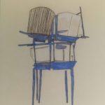 Chaise Cage en Bleu /technique mixte sur plexiglass 60x50cm