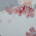 Robe Blanche de Juillet /technique mixte marouflé sur toile 100x81cm