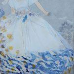 Robe Blanche et Bleue de juillet /technique mixte marouflé sur toile 100x81cm
