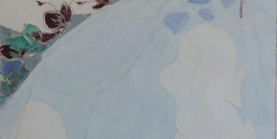 Robe bleue, ciel et jardin /tech mixte marouflé sur toile 110x84cm