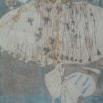 Robe en Bleu, Abysses /technique mixte sur papier marouflé/toile 114x84cm