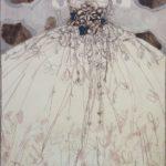 Robe en Noir et Blanc aux Petits Bleus /gouache-crayon sur papier ciré 110x84cm