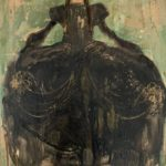 Robe noire-série confinement /tech mixte/toile 70x50cm