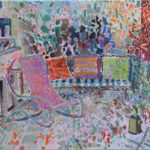 Rocking chair on the balcony /huile sur toile 90x100cm