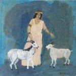 Romaine aux deux chèvres - 22x22cm