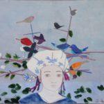 Tête aux deux oiseaux bleus /gouache-crayon/papier ciré 65x81cm