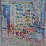 The bookcase in her study /HST 90x80cm