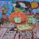 The chair is outside this day /HST 30x35cm