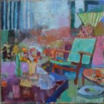 The modern chair in the ancient landscape /huile sur toile 100x100cm