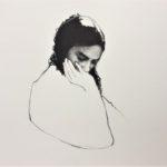 Thinking /pastel sec et acryl 35x35cm
