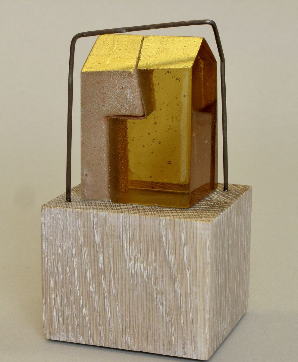 Obstacle /verre et bois, feuille d'or H14cm