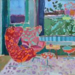 With a view of her garden /HST 45x40cm