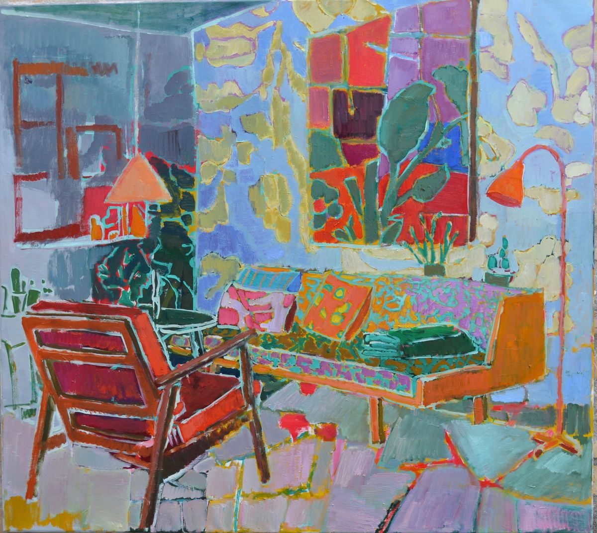 With a view of her painting /HST 90x100cm