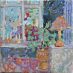 With candel light in the windowsill /huile sur toile 30x30cm