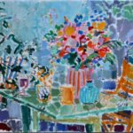 With flowers in the garden /HST 45x50cm