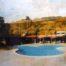 Art deco poolside /tech mixte sur toile 100x120cm