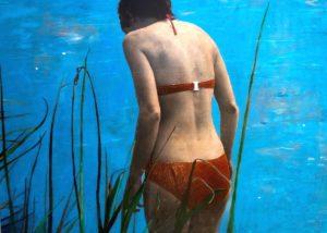 Behind her /technique mixte sur toile 75x100cm